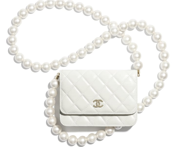 image 1 - Mini Wallet on Chain - Calfskin, Imitation Pearls & Gold-Tone Metal - White
