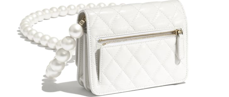 image 4 - Mini Wallet on Chain - Calfskin, Imitation Pearls & Gold-Tone Metal - White