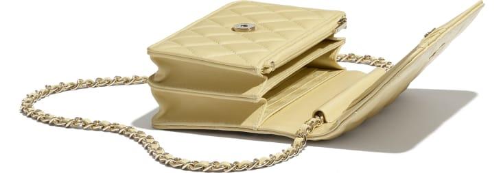 image 4 - Mini Wallet on Chain - Lambskin & Gold-Tone Metal - Yellow