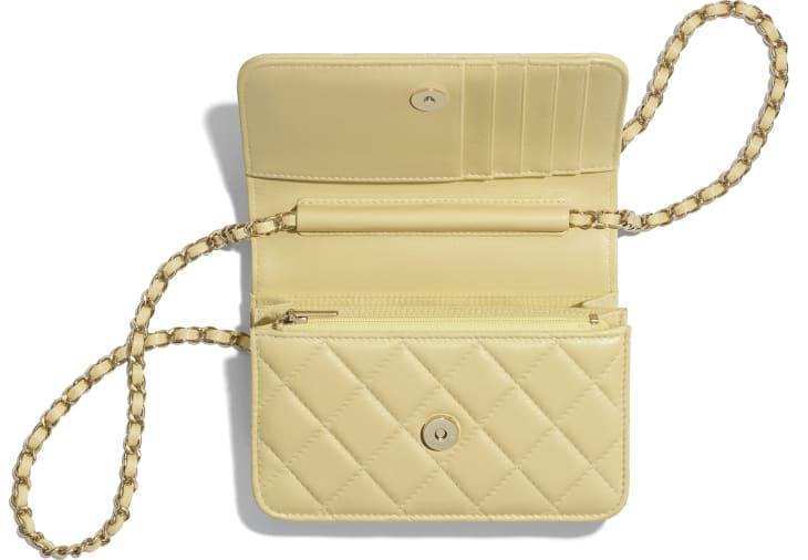image 3 - Mini Wallet on Chain - Lambskin & Gold-Tone Metal - Yellow