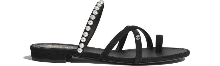 image 1 - Mules - Kid Suede, Pearls & Strass - Black