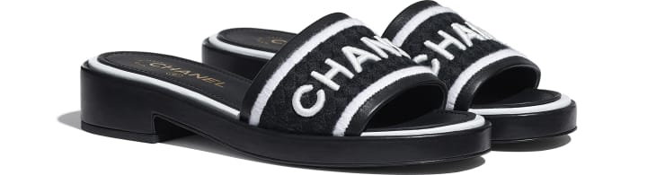 image 2 - Mules - Lambskin & Embroideries - Black & White