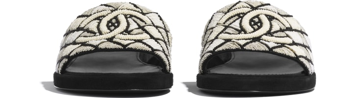 image 2 - Mules - Embroidered pearls & Kid Suede - Ivory & Black
