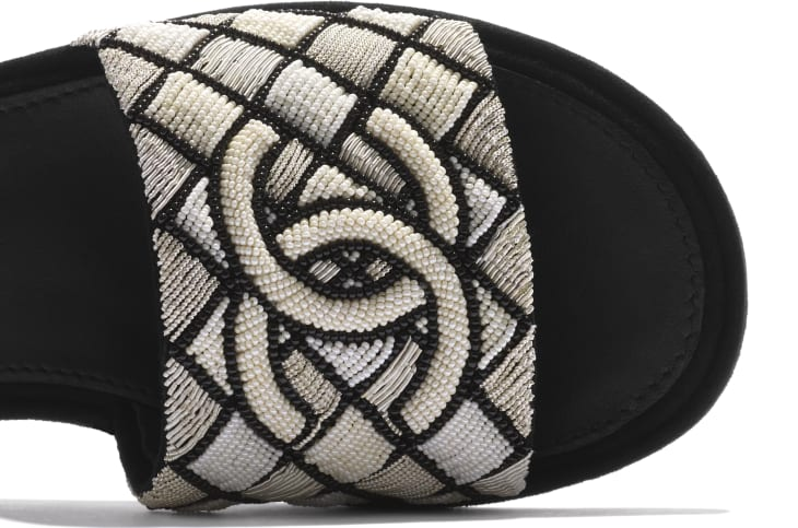 image 4 - Mules - Embroidered pearls & Kid Suede - Ivory & Black