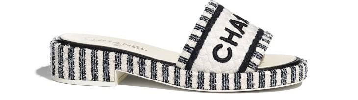 image 1 - Mules - Tweed & Embroideries - Ivory, Gray & Black