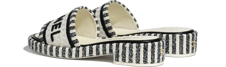 image 3 - Mules - Tweed & Embroideries - Ivory, Gray & Black
