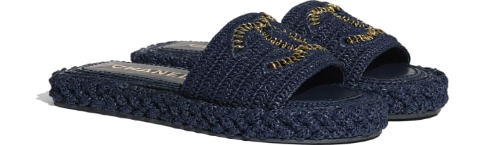 image 2 - Mules - Cord - Navy Blue