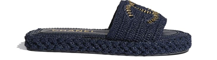 image 1 - Mules - Cord - Navy Blue