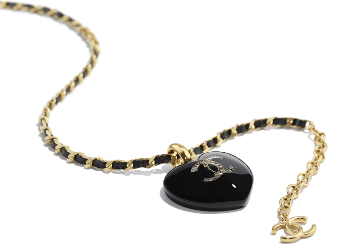 image 2 - Collier - Métal, veau, strass & résine - Noir, cristal & doré