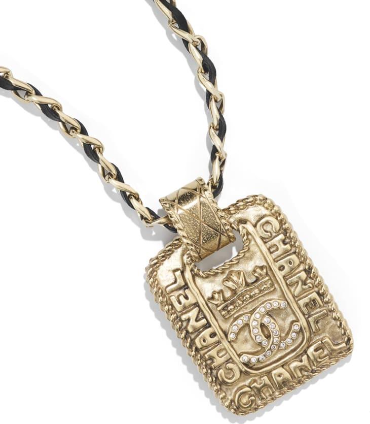 image 3 - Necklace - Metal, Calfskin & Strass - Gold, Black & Crystal