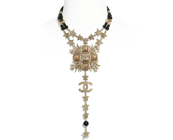 image 1 - Collier - Métal, perles de verre, verre & strass - Doré, noir & cristal