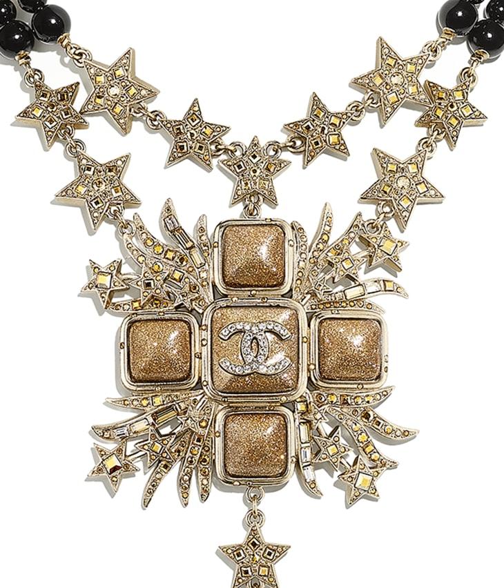 image 3 - Collier - Métal, perles de verre, verre & strass - Doré, noir & cristal
