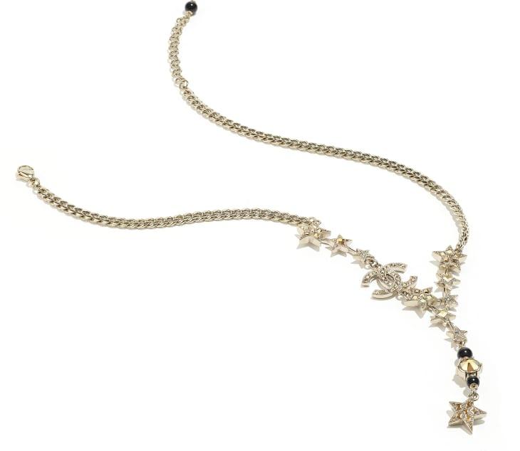 image 2 - Collier - Métal, perles de verre & strass - Doré, noir & cristal