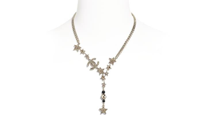 image 1 - Collier - Métal, perles de verre & strass - Doré, noir & cristal