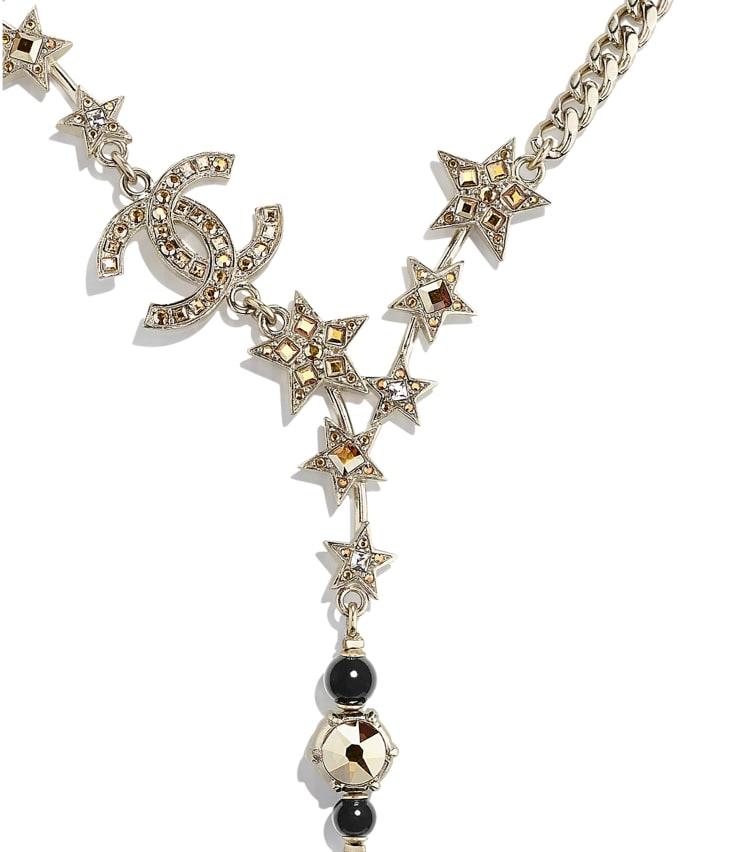image 3 - Collier - Métal, perles de verre & strass - Doré, noir & cristal