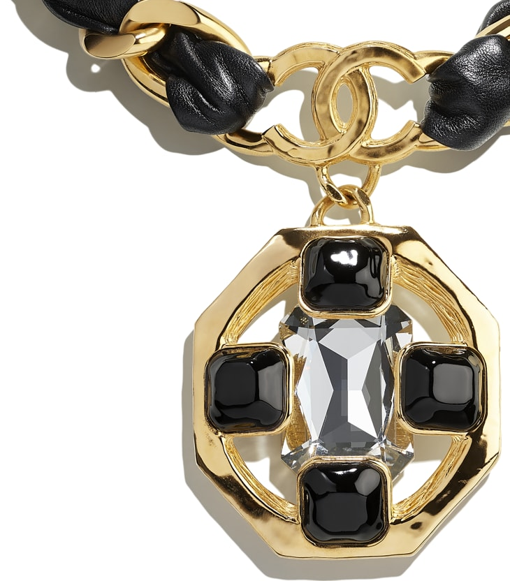 image 3 - ネックレス - メタル、ラムスキン、ストラス & レジン - ゴールド