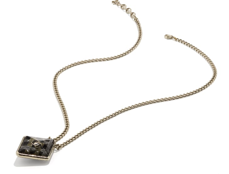 image 2 - Necklace - Metal, Resin & Strass - Gold, Black, Gray & Crystal