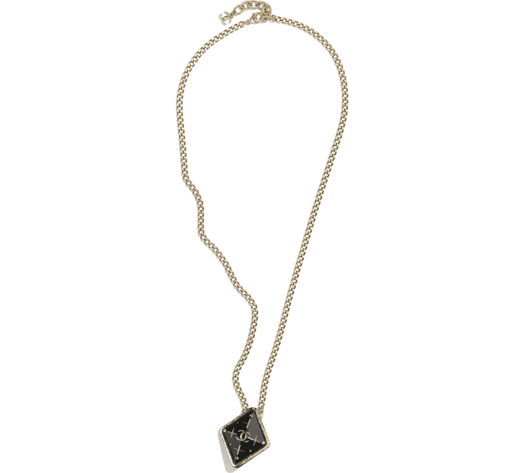 image 1 - Necklace - Metal, Resin & Strass - Gold, Black, Gray & Crystal