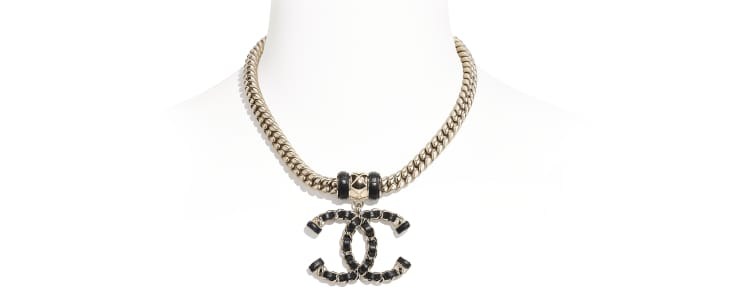 image 1 - Necklace - Metal & Lambskin - Gold & Black