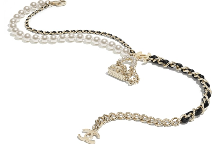 image 2 - Necklace - Metal, Lambskin & Glass Pearls - Gold, Black & Pearly White