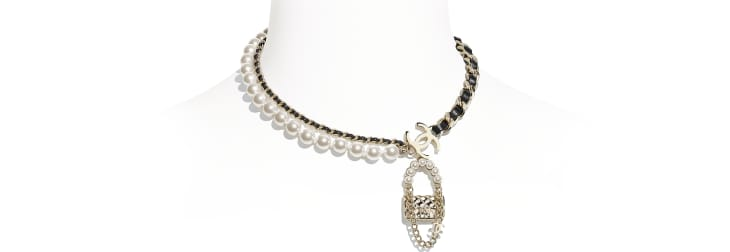 image 1 - Necklace - Metal, Lambskin & Glass Pearls - Gold, Black & Pearly White