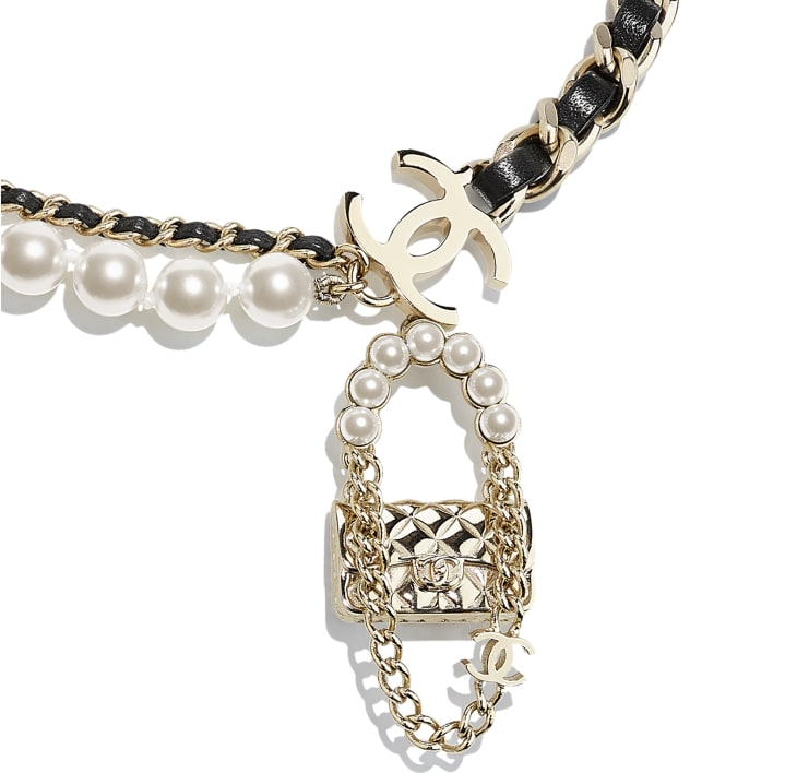 image 3 - Necklace - Metal, Lambskin & Glass Pearls - Gold, Black & Pearly White