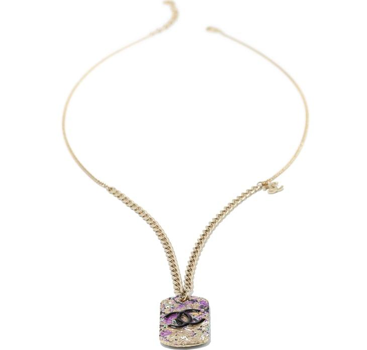 image 2 - Necklace - Metal - Gold, Black & Pink