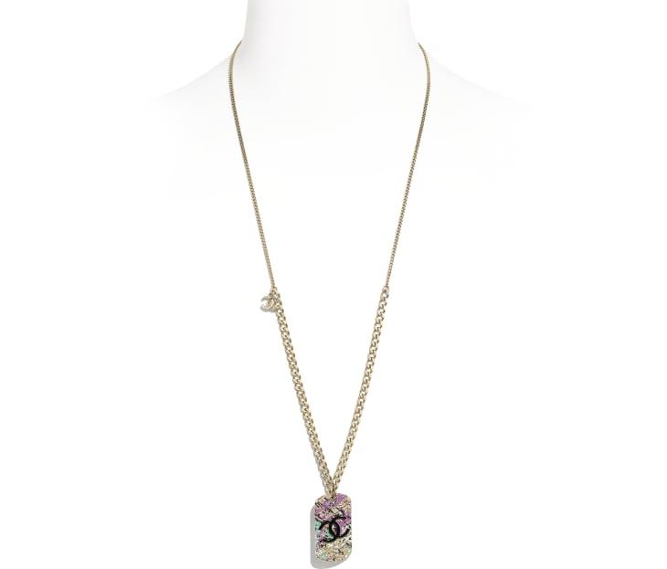 image 1 - Necklace - Metal - Gold, Black & Pink