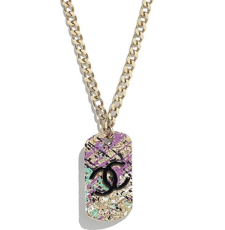 image 3 - Necklace - Metal - Gold, Black & Pink