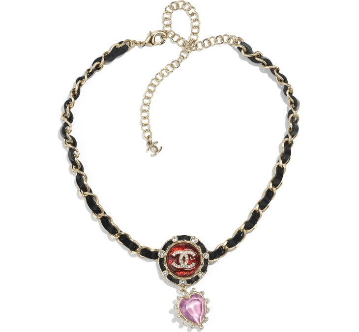 image 1 - Necklace - Metal, Calfskin, Imitation Pearls & Strass - Gold, Black, Red, Purple & Crystal