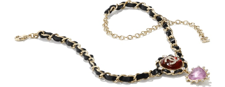 image 2 - Necklace - Metal, Calfskin, Imitation Pearls & Strass - Gold, Black, Red, Purple & Crystal
