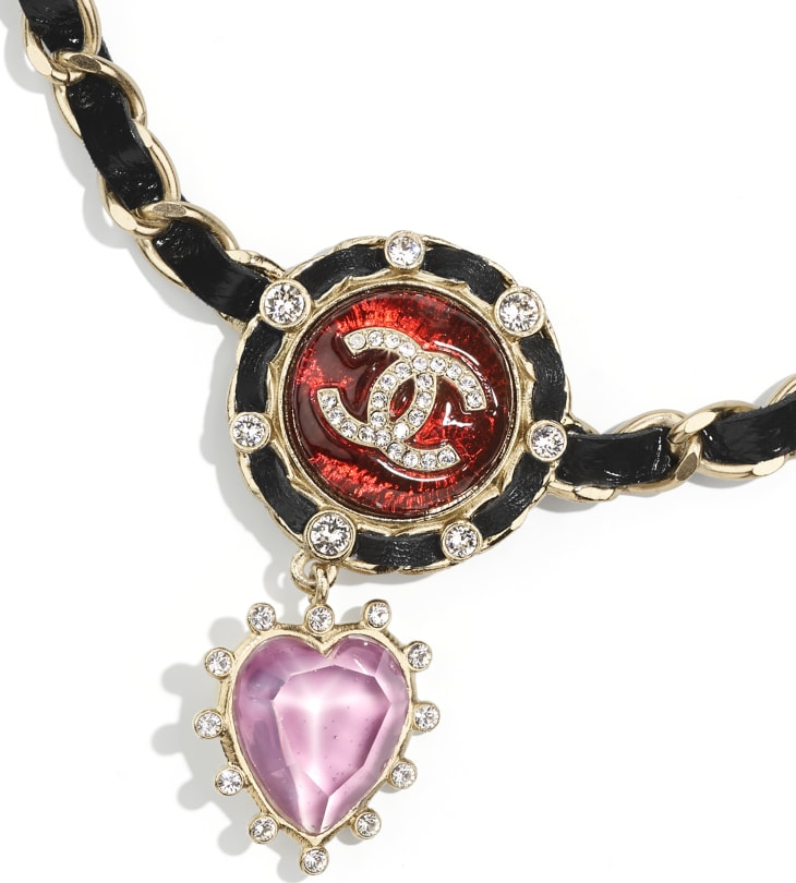 image 3 - Necklace - Metal, Calfskin, Imitation Pearls & Strass - Gold, Black, Red, Purple & Crystal