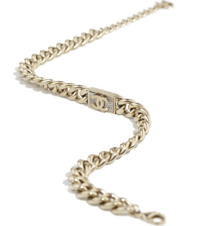 image 2 - Necklace - Metal & Diamantés - Gold & Crystal