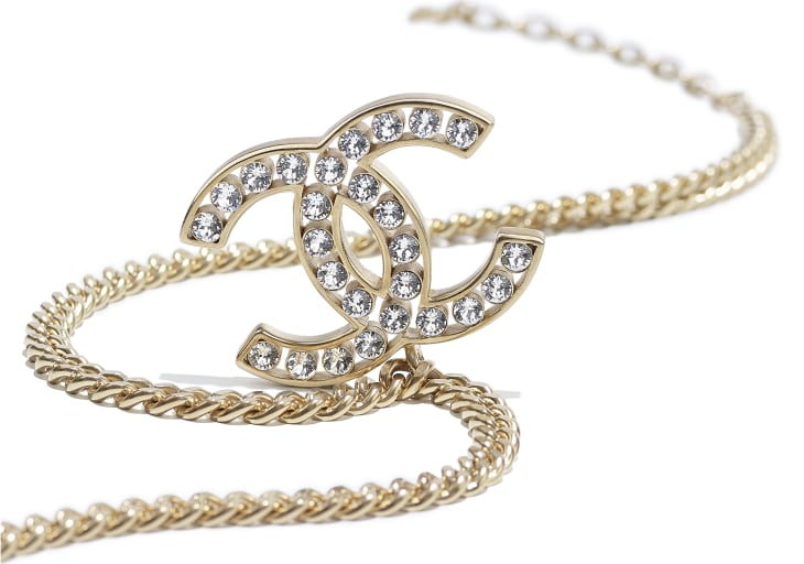 image 2 - Necklace - Metal & Strass - Gold & Crystal