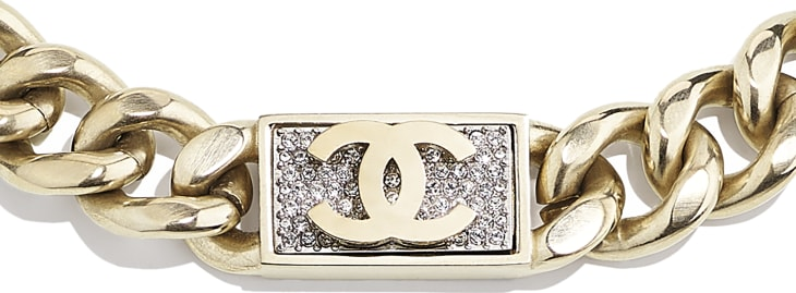 image 3 - Necklace - Metal & Diamantés - Gold & Crystal