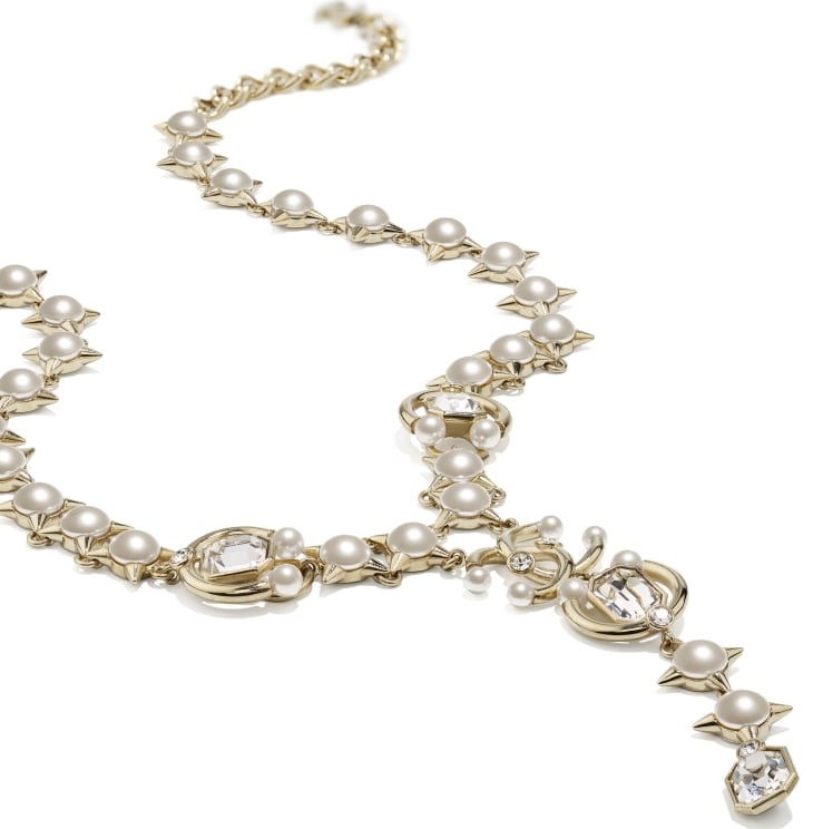 image 2 - Necklace - Metal, Strass, Glass Pearls & Imitation Pearls - Gold, Crystal & Pearly White