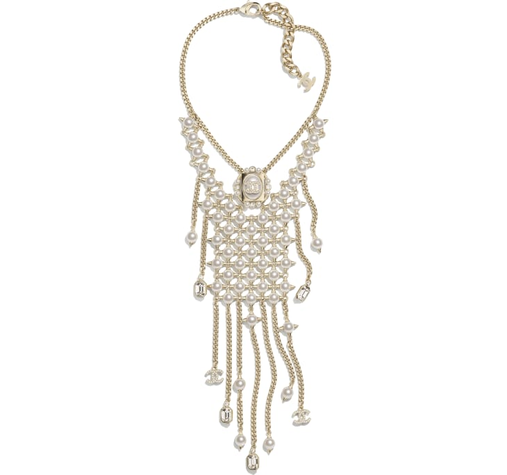 image 1 - Necklace - Metal, Strass, Glass Pearls & Imitation Pearls - Gold, Crystal & Pearly White