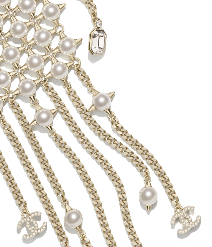 image 3 - Necklace - Metal, Strass, Glass Pearls & Imitation Pearls - Gold, Crystal & Pearly White