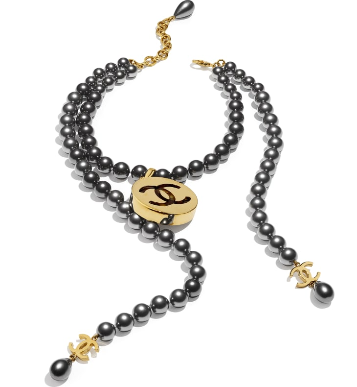 image 2 - Necklace - Metal, Glass Pearls & Resin - Gold, Gray & Green