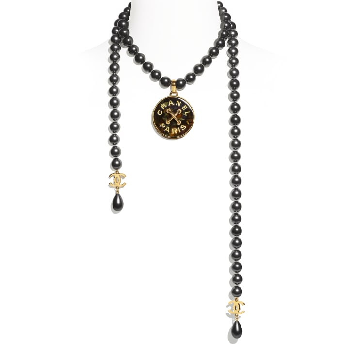 image 1 - Necklace - Metal, Glass Pearls & Resin - Gold, Gray & Green