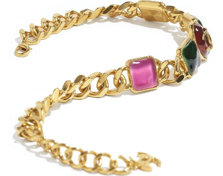 image 2 - Colar - Metal & Resina - Dourado, Verde, Burgundy & Rosa