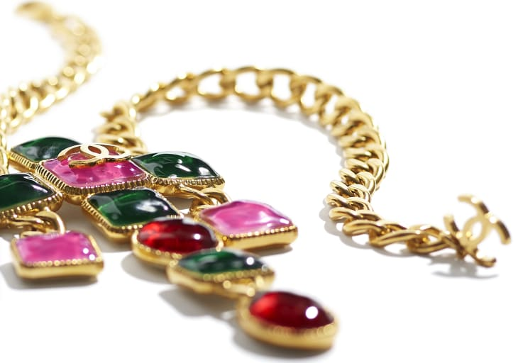 image 2 - Necklace - Metal & Resin - Gold, Green, Burgundy & Pink