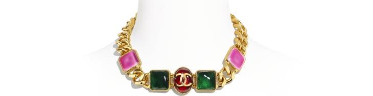 image 1 - Colar - Metal & Resina - Dourado, Verde, Burgundy & Rosa
