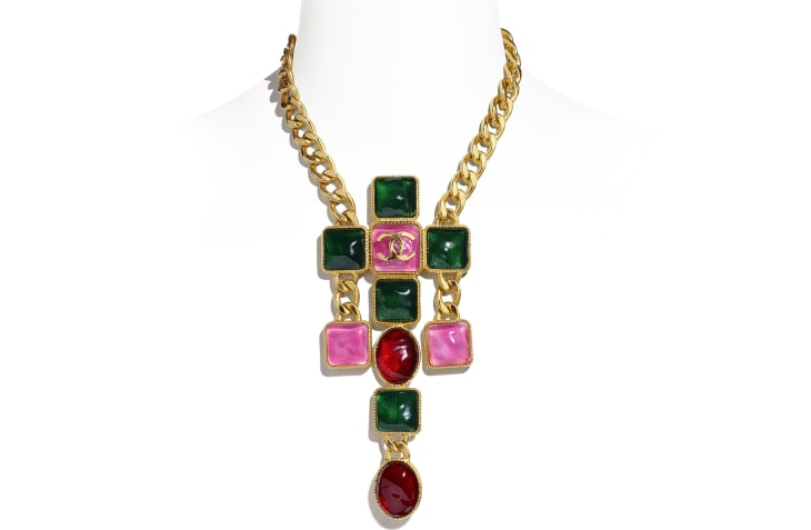 image 1 - Necklace - Metal & Resin - Gold, Green, Burgundy & Pink