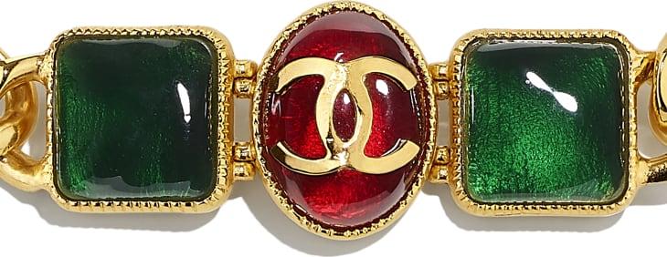 image 3 - Colar - Metal & Resina - Dourado, Verde, Burgundy & Rosa