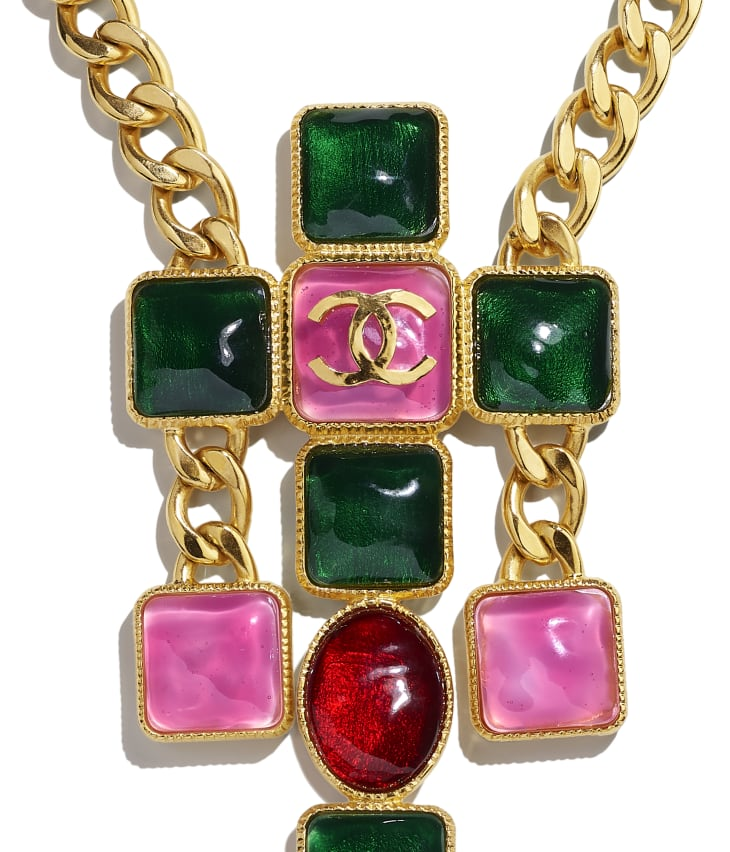 image 3 - Necklace - Metal & Resin - Gold, Green, Burgundy & Pink