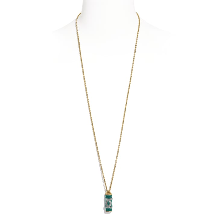 image 1 - Necklace - Metal & Strass - Gold, Green & Crystal