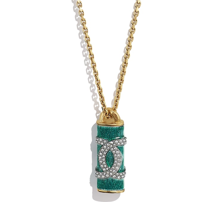 image 3 - Necklace - Metal & Strass - Gold, Green & Crystal