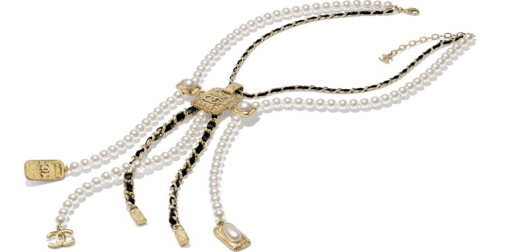 image 2 - Necklace - Metal, Glass Pearls, Calfskin, Resin & Strass - Gold, Pearly White, Black & Crystal