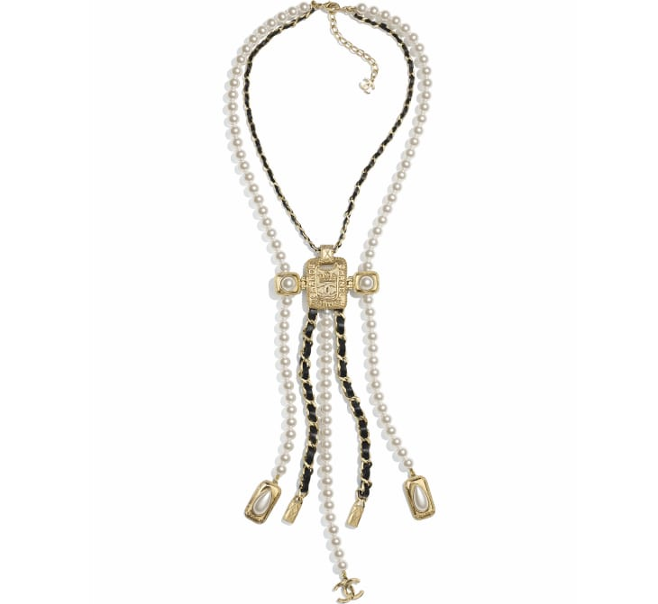 image 1 - Necklace - Metal, Glass Pearls, Calfskin, Resin & Strass - Gold, Pearly White, Black & Crystal